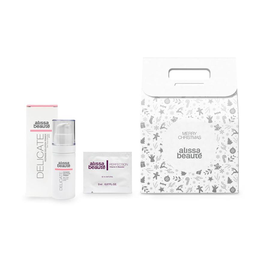 Balíček Delicate III.   Podkladová báze proti zčervenání č. 354 + vzorek Vitamín C Booster a baleno ve vánoční krabičce